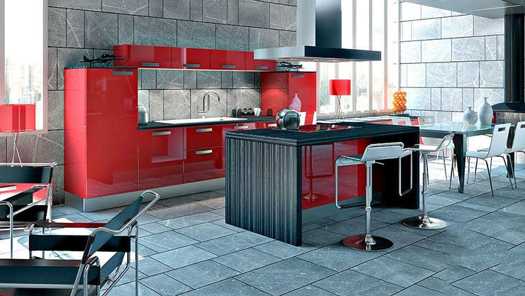 Cozinha em madeira e piso de basalto