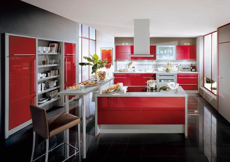 Decoração em branco e vermelho para cozinha decoradas