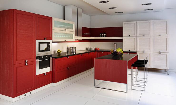 Modelo de cozinha moderna vermelha