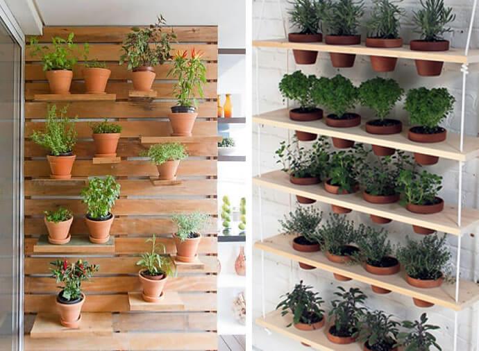 Horta vertical simples com prateleiras