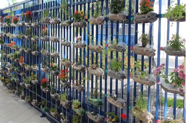 Horta vertical de garrafas PET pendurada em cerca residencial