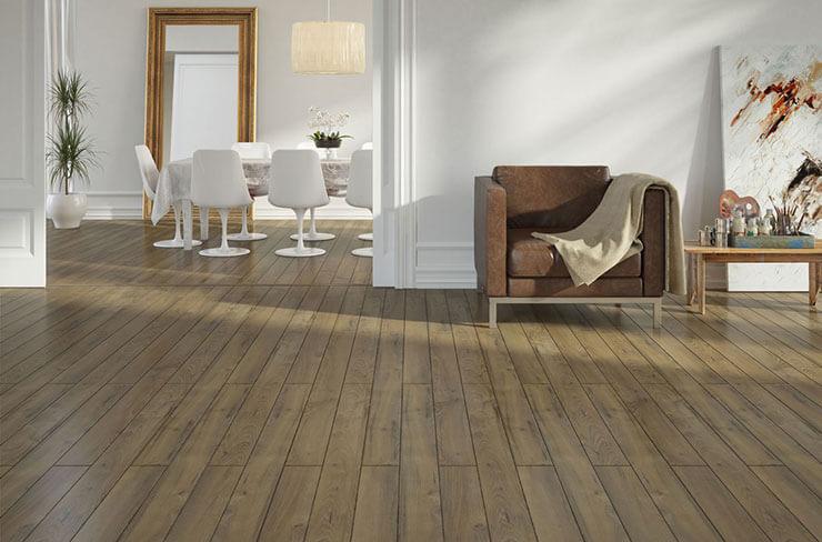 sala de estar com piso de madeira porcelanato