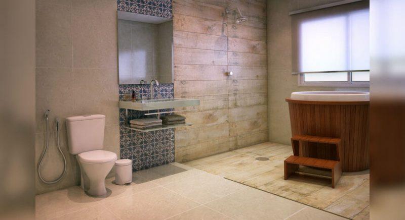 Banheiro residencial com revestimento cerâmico que imita madeira