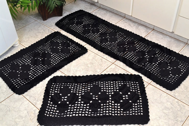Tapete de banheiro de crochê
