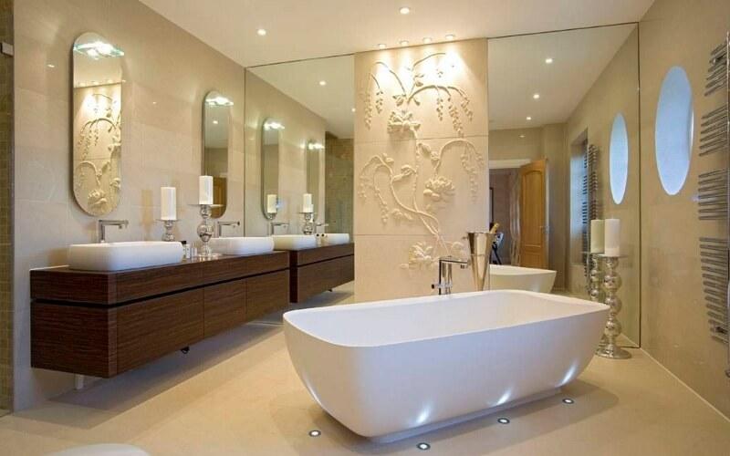 Textura 3d em parede de gesso para banheiro
