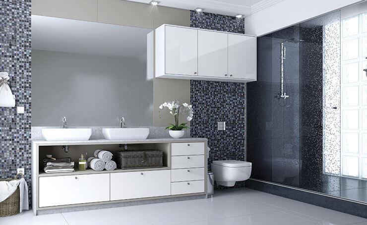 Banheiro Planejado Branco e cinza