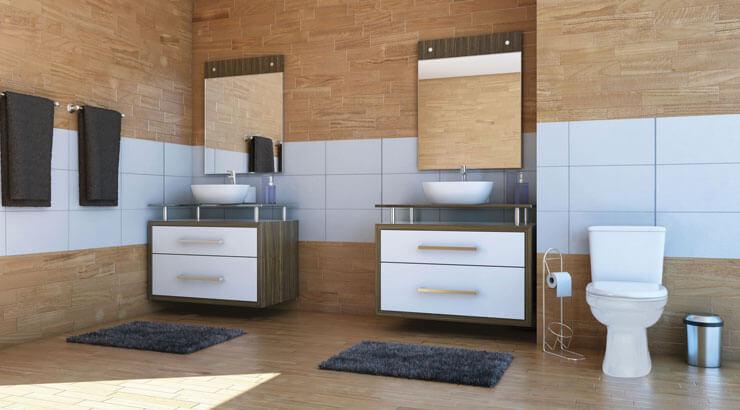Banheiro com revestimento de cerâmica madeira