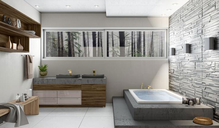 Projeto Planejado de banheiro com gesso 3d