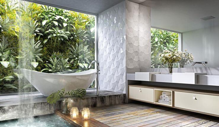 Banheiro planejado com jardim vertical externo