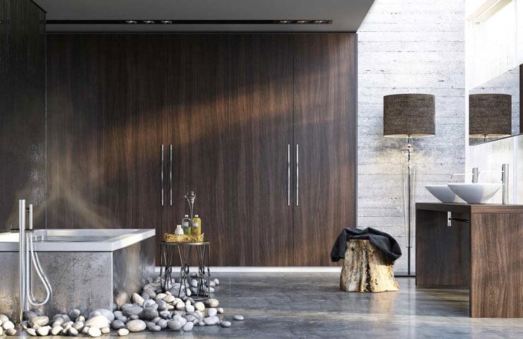 Banheiro de madeira planejado