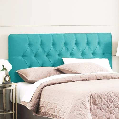 Cabeceira azul estofada para cama de casal