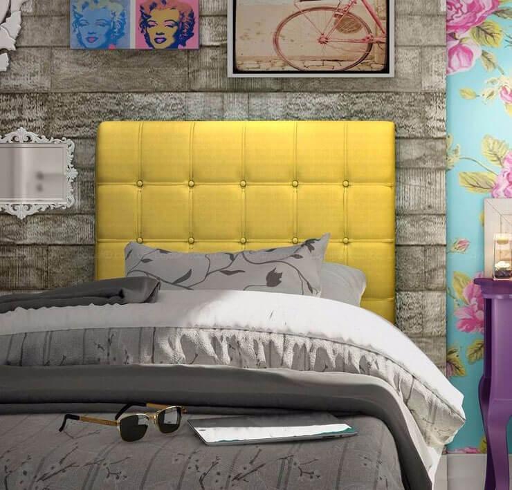Cama de Solteiro com cabeceira estofada amarela