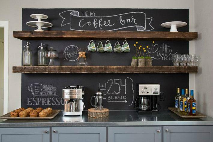 Tinta lousa sobre balcão do cafezinho