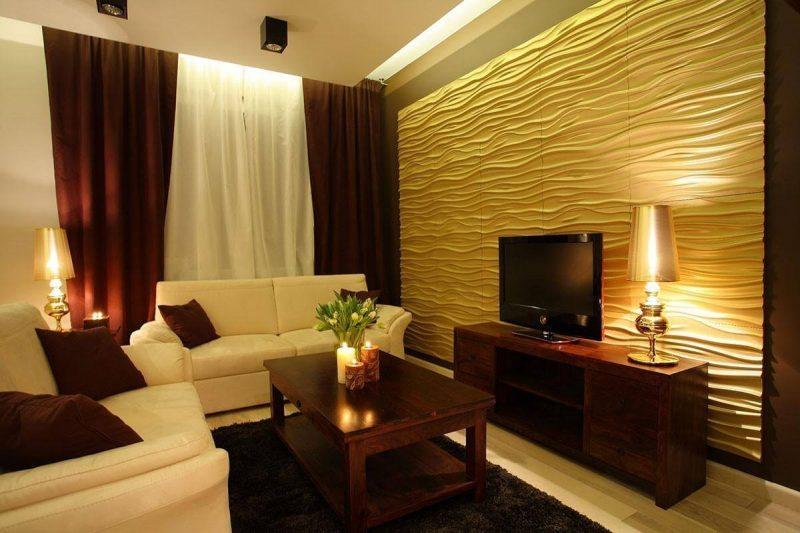 Modelo de parede de gesso amarela para sala