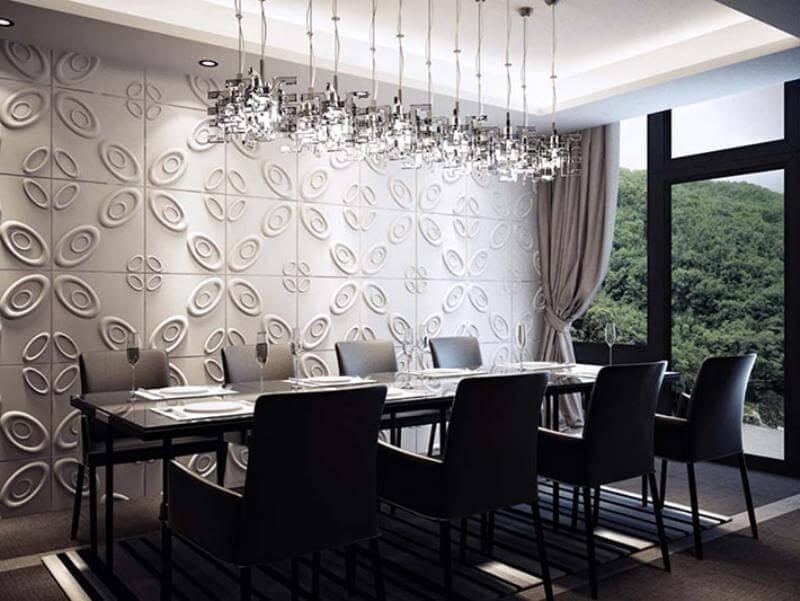 Sala de estar com revestimento elegante