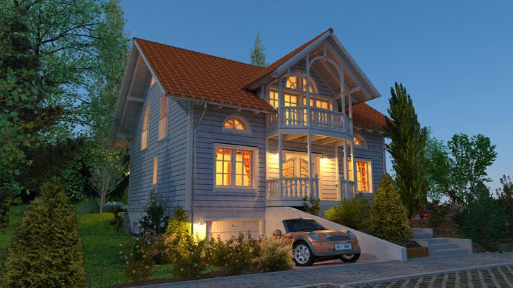 Projeto de casa de madeira americana