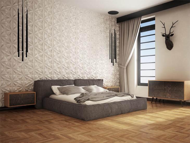 Projeto de quarto de casal decorado com gesso em 3 dimensões