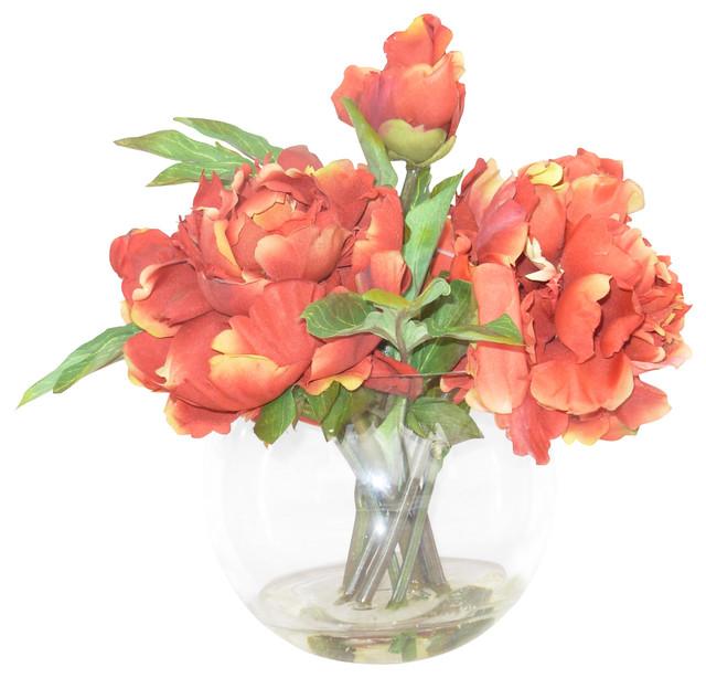 Arranjo de flores de camélias artificiais