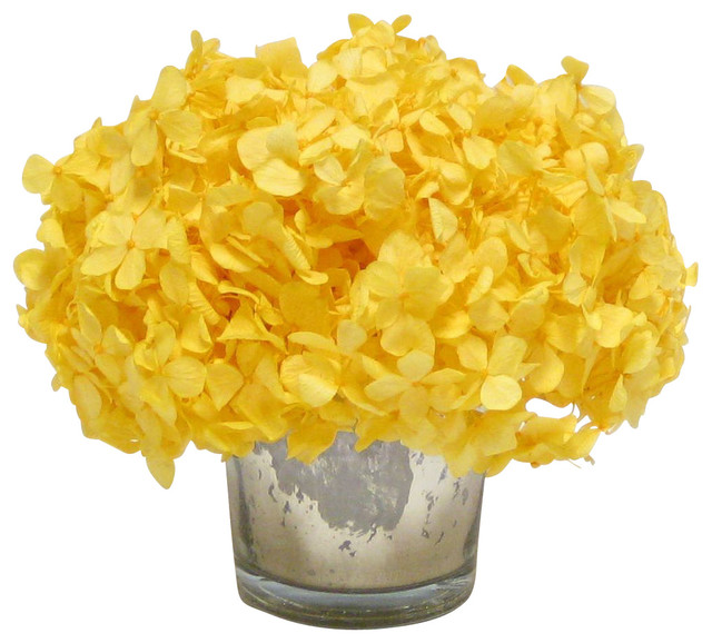 Hortências amarelas artificiais