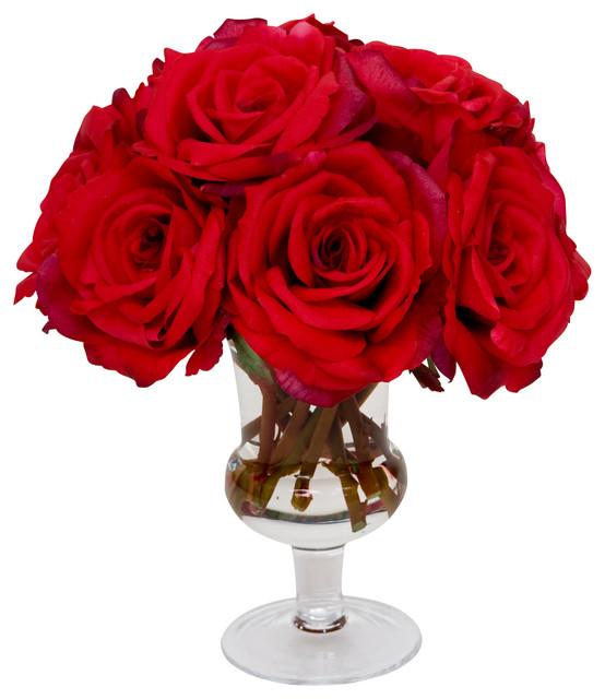 arranjo de rosas vermelhas artificiais