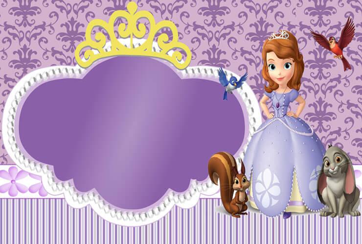 Convite de festa de aniversário Princesa Sofia