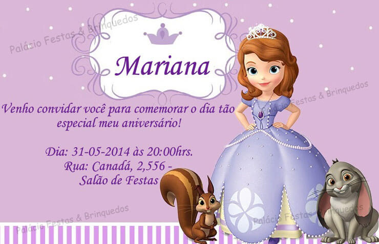 Convite com data princesa sofia