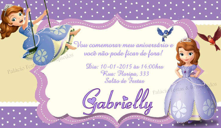 Convite Branco princesa Sofia