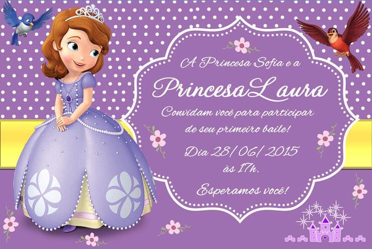 Convite princesa sofia de aniversário