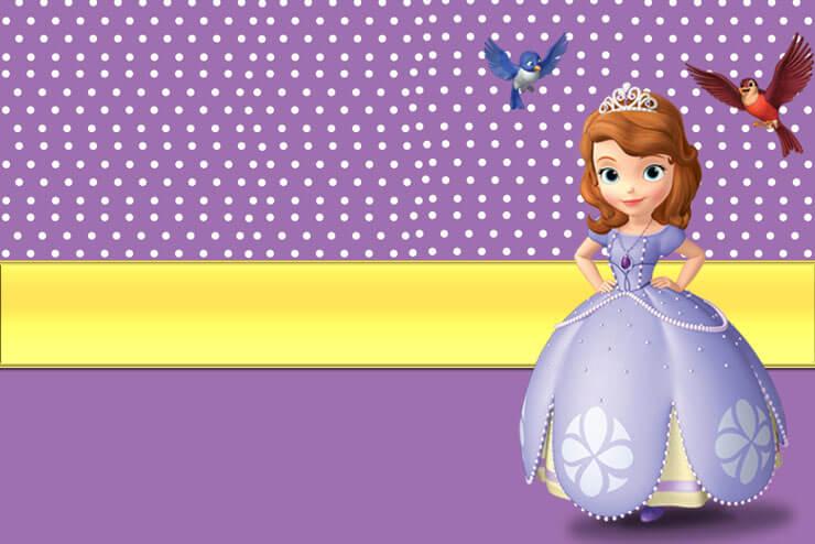 Convite de festinha de aniversário lilás e amarelo