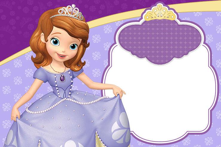 Convite princesa sofia com espaço para foto
