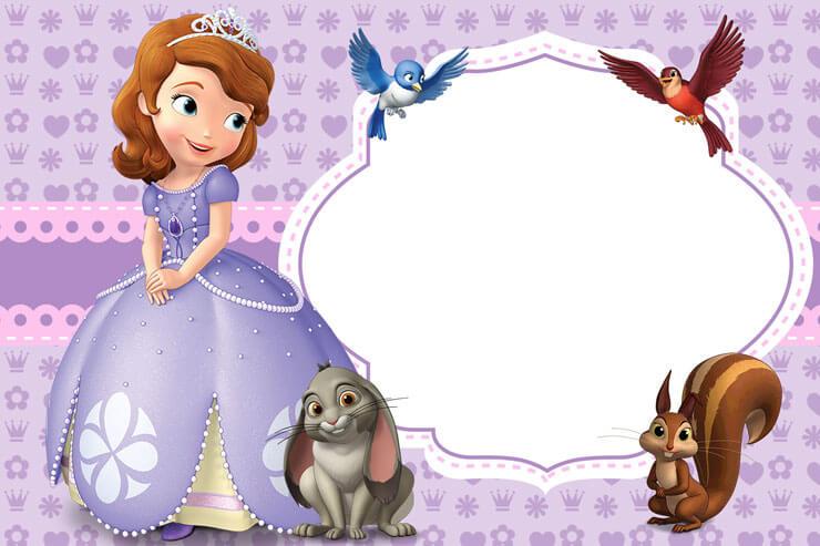 Convite princesa sofia com espaço para mensagem
