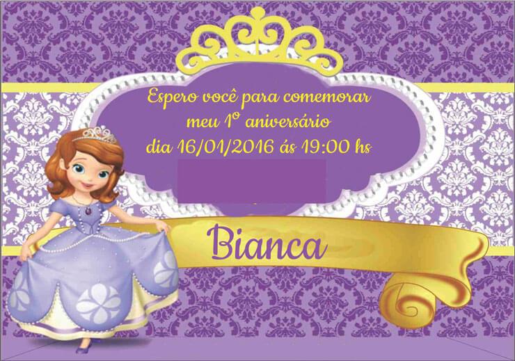 Convite princesa sofia para festa de aniversário