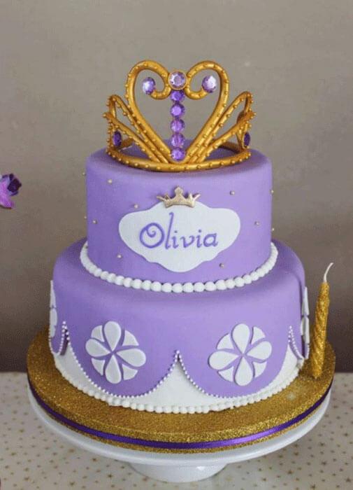 Bolo decorado de 2 níveis Princesa Sofia