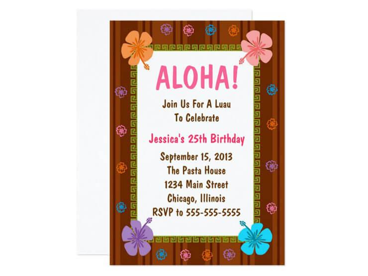 Convite Simples para Festa Havaiana