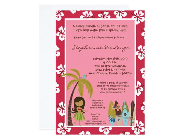 Convite de festa Havaiana Rosa