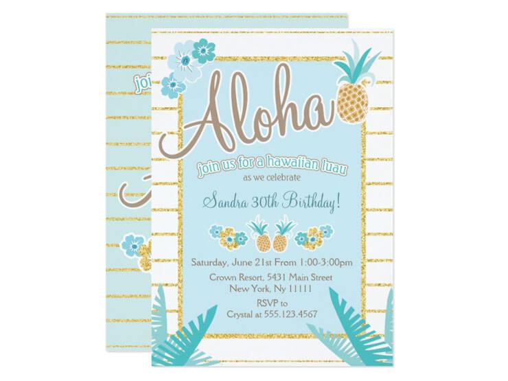 Convite claro para festa havaiana