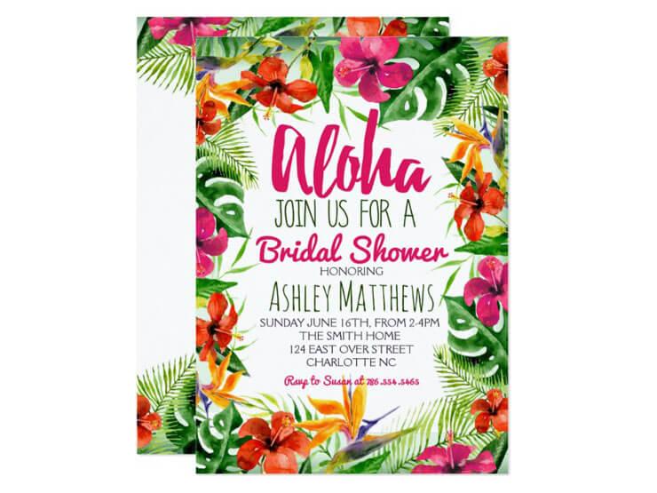 Convite flores para festa havaiana