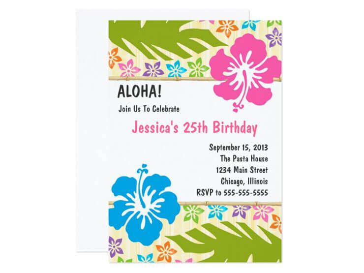 Convite colorido para festa havaiana