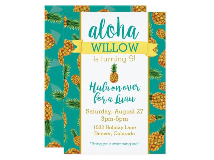 Convite de Festa Havaiana - Motivo Abacaxi