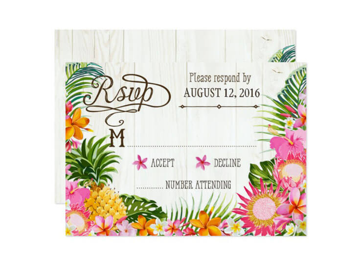 Convite de festa havaiana - motivo flores e frutas