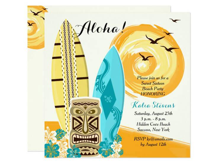 Convite de festa havaiana - Motivo Luau