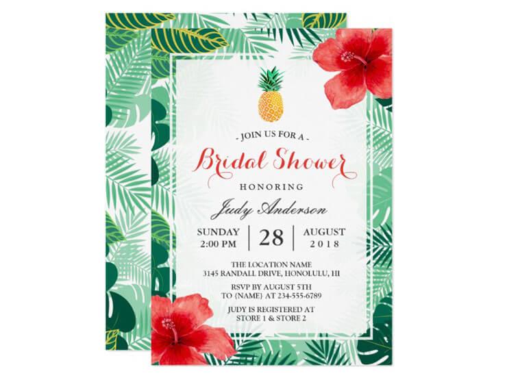 Convite de Festa Havaiana - motivo tropical