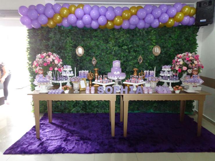 Decoração de aniversário Princesa Sofia