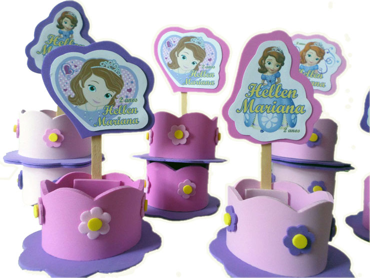 Lembrancinhas decoradas da Princesa Sofia