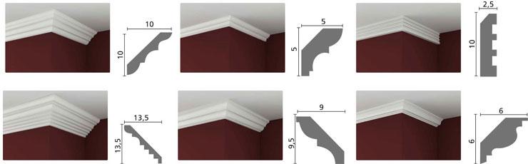 Modelos e dimensões de Sanca de Isopor
