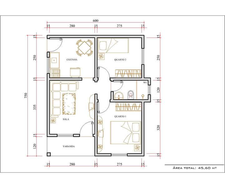 Plantas de Casas com 2 Quartos simples