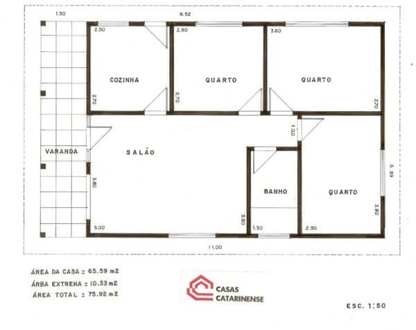 Planta de casa com 3 quartos simples