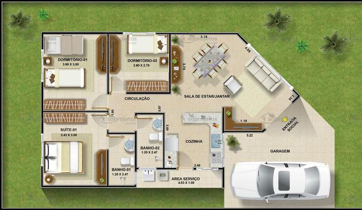 Planta de projeto de casa com 3 quartos