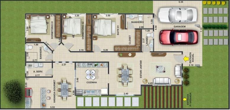 Planta de casa com 3 quartos com garagem
