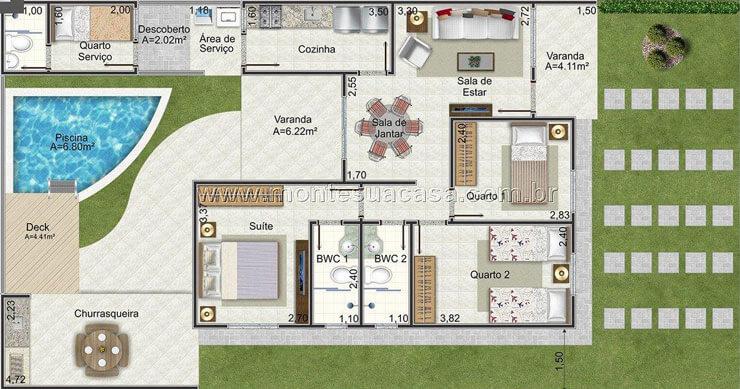 Plantas de casas 105 modelos projetos e fotos for Casa moderna 2 andares 3 quartos